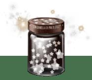 Scuoti il vasetto sul sito per catturare la magia delle stelle.